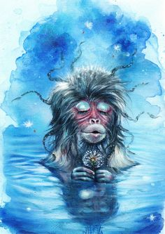 Tanya Shatseva    WATERCOLOR   Silent Monkey