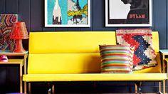 Chez Bradford et georgi propriétaires fondateur du fab.com les couleurs réveillent les murs noirs avec bonne humeur. Planete-deco.fr