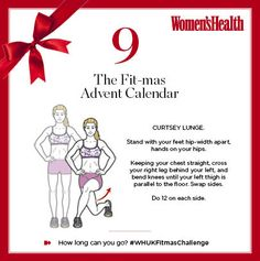 Upgrade your leg workout with today's #WHUKFitmasChallenge - curtsey lunges. How many can you do in a row?