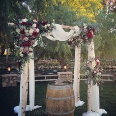 Wenfloral Design Studio - Pasadena, CA, United States. Wedding ceremony with a rustic theme in berry tones | Lake Oak Meadows, Temecula