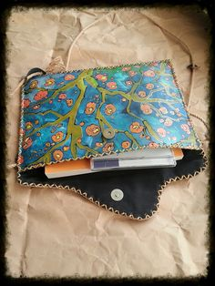 A painted handmade leather purse/bag with by YereqnukHandicrafts, €42.00