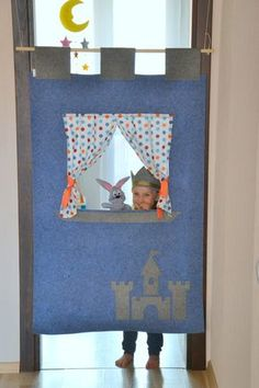 Blue doorway puppet theatre. Felt puppet theater for by NukuKids Puppet Show Stage, Puppet Show For Kids, Puppet Theatre, Puppets For Kids, Felt Puppets, Finger Puppets, Kids Theatre, Theatre Stage, Tv Shelf