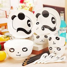cute panda bowl creative ceramic cutlery sets the gift Panwan spoon chopsticks dinnerware sets