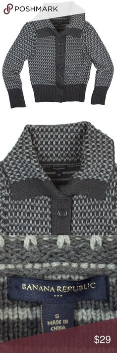 """BANANA REPUBLIC Gray Weave Knit Cardigan Sweater Mint condition. This gray weave knit cardigan sweater from Banana Republic features a collared neckline and button closures. Made of a wool blend. Measures: bust: 37"""", total length: 22"""", sleeves: 24"""" Banana Republic Sweaters Cardigans"""