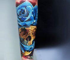 Realistic Skull Tattoo by Levgen Eugene Knysh | Tattoo No. 13060