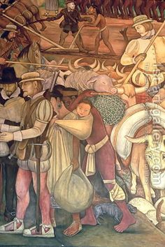 The Conquest, or Arrival of Hernan Cortes in Veracruz, from the series Epic of the Mexican People, 1929-35 by Diego Rivera