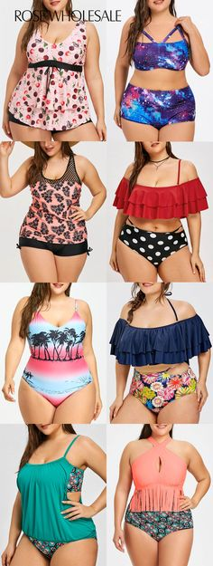 Up to off, Rosewholesale plus size swimsuit bathing suit swimwear tankini bikini one piece for women Plus Size Bikini Bottoms, Women's Plus Size Swimwear, Trendy Swimwear, Cute Swimsuits, Summer Swimwear, Tankini, Modelos Plus Size, Looks Plus Size, Plus Size Outfits