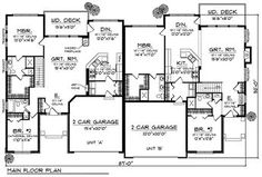 Multi-Family Plan 73033 - Traditional Style Multi-Family Plan with 2998 Sq Ft, 4 Bed, 4 Bath, 4 Car Garage House Plans One Story, One Story Homes, Ranch House Plans, Story House, Duplex Floor Plans, House Floor Plans, Duplex Design, House Design, Traditional House Plans