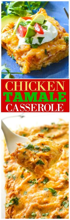 Chicken Tamale Casserole - The Girl Who Ate Everything This Chicken Tamale Casserole has a sweet cornbread crust topped with enchilada sauce and chicken. This Mexican dinner is a crowd pleaser! Tamale Casserole, Casserole Dishes, Casserole Recipes, Hamburger Casserole, Chicken Corn Bread Casserole, Mexican Cornbread Casserole, Healthy Chicken Casserole, Mexican Chicken Casserole, Mexican Lasagna