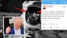 """Fake-News: Buzz Aldrin Admits Apollo 11 Moon Landings Were FAKE and Simply A Set: The article """"Buzz Aldrin Admits Apollo 11 Moon Landings Were FAKE and Simply A Set (See Tweet),"""" published on fake or news satirical website www.huzlers .com is a hoax. The fake news is spreading on the internet like wildfire, although he has not posted anything on his website at www.buzzaldrin .com about admitting that the Apollo 11 Moon Landings were fakes.... Moon Landing Fake, Apollo 11 Moon Landing, Apollo 11 Mission, Buzz Aldrin, Flat Earth, Conspiracy Theories, Fake News, Satire, Internet"""