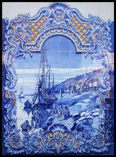 Azulejos (portuguese tiles)  Painel do mercado de Santarém.  #Portugal