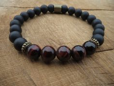 #Mens Bracelet/Matte Onyx Red Tiger Eye Bracelet/Stretch Beaded Gemstones Bracelet/Wrist Mala/Grounding/Energy/Mens #Stone #Yoga #Bracelet by #BohemianChicbead on Etsy #onyx $23.00