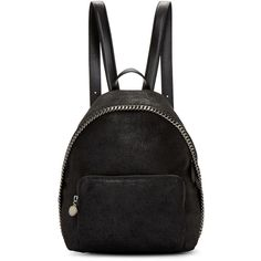 Stella McCartney Black Falabella Shaggy Deer Small Backpack ($1,100) ❤ liked on Polyvore featuring bags, backpacks, accessories, bolsas, black, structured bag, handle bag, logo bags, fake bags and hardware bag
