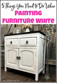 wooden furniture Curious how to paint furniture white Is there a secret to painting white furniture This cabinet is given a white painted furniture makeover. these 5 tips to painting furniture white for a result you will love. Painting Wood Furniture White, Dark Wood Furniture, Furniture Painting Techniques, White Bedroom Furniture, Distressed Furniture, Repurposed Furniture, Cool Furniture, Furniture Stores, Antique Furniture