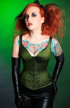 OOaK Olive Green Bra Cup StyleOverbust Corset - Retro, pin-up, goth, punk, pirate, rocker on Etsy, $265.00