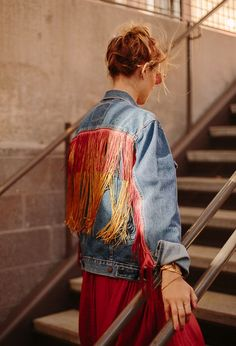 Jean Jacket DIY: How to embellish a standard jean jacket with fringe, that looks like it was always there! Click through for the tutorial. #fashion #diy #tutorial #fringe #jeanjacket #clothing #womens #fall
