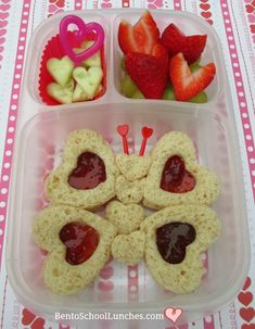 Valentines Day linzer butterfly lunch. Created with heart shaped cookie cutters.