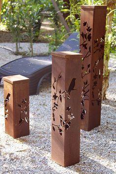 'Birds on branches' Corten Outdoor Lighting - Kuş Desenli Corten Metal… Metal Projects, Welding Projects, Metal Crafts, Wood Crafts, Landscape Lighting, Outdoor Lighting, Outdoor Art, Plasma Cutting, Yard Art