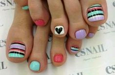 Pedicure, Toe Nail Art: Coral, Turquoise, Lavender and Stripes