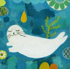 IT IS SNOWING AGAIN, March 14. Yesterday was in the fifties! Well, this sweet seal print by MatiRoseStudio on Etsy is making me feel better. It's $30.00.