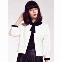 Dahlia Camilla White Pearl Embellished Jacket with Contrast Detail Camilla, Pearl White, Chef Jackets, Contrast, Dahlia, Detail, Fashion, Moda, Fashion Styles