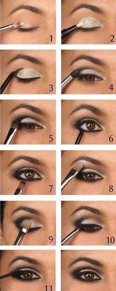This stunning eyeshadow look looks so dramatic and daring, but is so simple to create! Start by selecting your shimmery silver shade, and sweep it right across the eyelid, from inner to outer corner. Then take your black eyeshadow, and blend lightly from the outer corner into the centre of the eye. Use a thick kohl eyeliner to line the top lid and the bottom lash line, and finish with lashings of mascara.