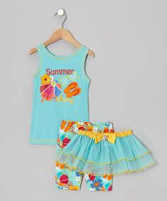 Take a look at this Aqua 'Summer' Tutu Set - Infant & Toddler by Krazy Legs on #zulily today!