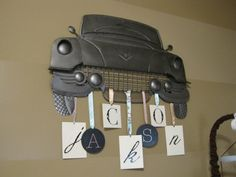 Really thinking of doing my little boys room in vintage trucks and cars and I love this!