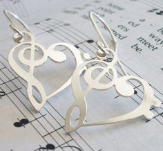 Silver Treble Clef and Bass Clef HEART Earrings. $32.00, via Etsy.