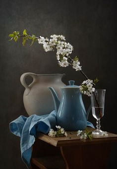 photo: still life with flowering branch ▩photographer: inna korobova Still Life Drawing, Still Life Oil Painting, Still Life Art, Still Life Photography, Art Photography, Still Life Photos, Painting Inspiration, Flower Art, Photo Art