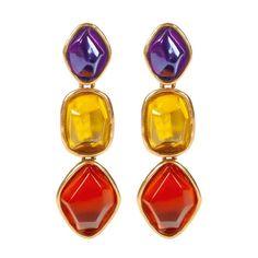 Oscar de la Renta 3 Stone Drop Earrings ($147) ❤ liked on Polyvore