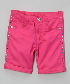This Pink Studded Bermuda Shorts - Toddler & Girls is perfect! #zulilyfinds