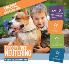 Cherry Knolls Vet Clinic is extremely excited to provide a brand new service called Zeutering: neutering your pet without surgery!   For more information or to set up an appointment visit www.cherryknollsveterinaryclinic.com