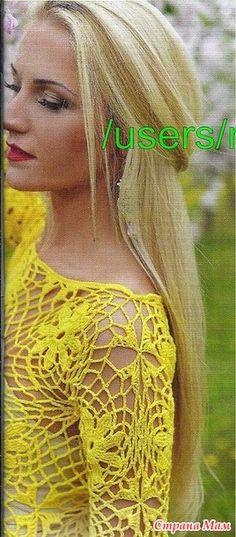 Ярко-желтое платье-футляр выполнено из цветочных элементов ирландского кружева. Ромашки на сетке смотрятся очень нежно и нарядно. Размер 38-40 Пряжа ALIZЕ DIVE 500 гр. Крючок 2.5 мм. Crochet Blouse, Crochet Tops, Dresses, Vestidos, Blouses, Tricot, Dress, Gown