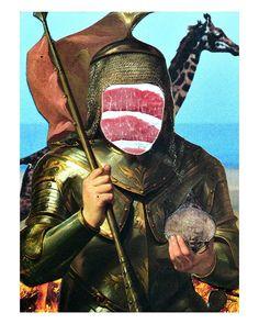 Polish giraffe- hunting armor from the . Captain America, Giraffe, Contemporary Art, Hunting, Batman, Collage, Polish, Fine Art, Superhero