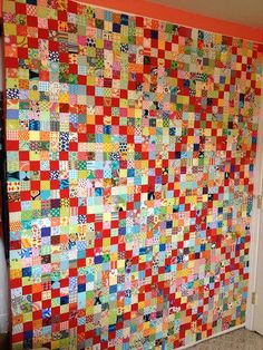 Another day, another scrap quilt – Sleepy Owl Studio Scrappy Irish Chain by (Sleepy Owl Studio) Two sort-of finishes this week, and they couldn't be more different. The first is this crazy, scrappy Irish Chain: I started the blocks at retreat in Scrappy Quilt Patterns, Scrappy Quilts, Block Patterns, Star Quilts, Canvas Patterns, Postage Stamp Quilt, Postage Stamps, Irish Chain Quilt, String Quilts