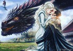 Game of thrones season 7 fan art, Jonerys, Daenerys Targaryen, Jon Snow, Drogon Arte Game Of Thrones, Game Of Thrones Artwork, Game Of Thrones Fans, Jon Snow And Daenerys, Game Of Throne Daenerys, Got Dragons, Mother Of Dragons, Daenerys Targaryen, Khaleesi