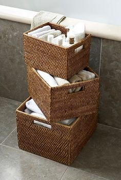Shop the range of storage baskets at The Holding Company including wicker storage baskets and more. Perfect for any and every home, these baskets become an essential when you realise how much easier your life can be with the extra organisation. Rope Shelves, Wooden Shelves, Home Crafts, Diy Home Decor, Affordable Storage, Bathroom Baskets, Home Organisation, Organization, Rattan Basket