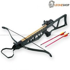 "Rifle Crossbow 120 Lbs MAN-KUNG, professional crossbows with anatomic gun handle and shoulder rests to have a steady and safe grip, alluminium body with fiber bow, viewfinder, controller and polyester string - Lenght 30.5"" - Bow Lenght 27.5"" - Weight 3.63 lbs - Shooting power 120 Lbs - Speed 185 fps - Complete of 2 bolts with aluminium body and metal tip - LEONESHOP.COM"