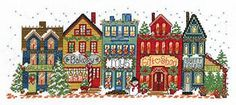 Punto De Cruz Main Street Everyday - cross stitch pattern designed by Ursula Michael. a place to call home. Cross Stitch House, Cross Stitch Kits, Counted Cross Stitch Patterns, Cross Stitch Designs, Cross Stitch Embroidery, Embroidery Patterns, House Quilts, Guache, Christmas Cross