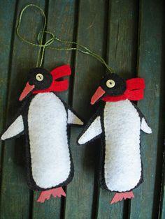 My felt penguin ornaments, made-to-order   #Christmas ornament, #penguin, #felt $12