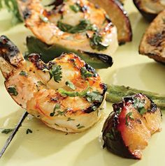 Shrimp and Plum Kebabs are quick and easy. You can assemble them in the time it takes for the grill to heat up. Omit the jalapenos for less heat.