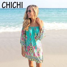 2016 Summer beach Dress Fashion Bohemian Boho Flower Print Off Shoulder Casual Vintage