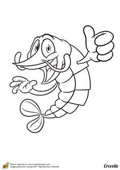 Coloriage pour enfants, dessin d'une crevette levant le pousse