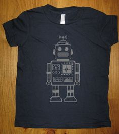 Robot Shirt - Retro Robot Kids T Shirt - 8 Colors Available - Sizes 2T, 4T, 6, 8, 10, 12 - Gift Friendly on Etsy, $15.95