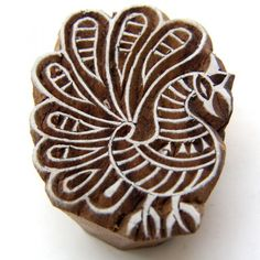 Indian Block Wood Stamp Peacock Design for Printing Textiles or Paper