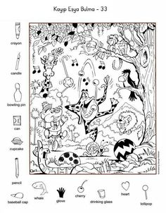 Hidden Picture Puzzles, Hidden Picture Games, Visual Perceptual Activities, English Resources, English Activities, Picture Boards, Life Skills Classroom, Coloring Sheets, Coloring Pages