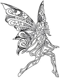 Soft lacy wings and dimensional swirl give this pretty fairy Fairy Coloring Pages, Free Adult Coloring Pages, Coloring Pages To Print, Coloring Books, Coloring Stuff, Paper Embroidery, Embroidery Designs, Machine Embroidery, Celestial Tattoo