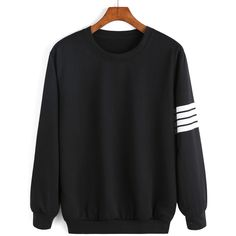 Round Neck Varsity-Striped Sweatshirt (137.315 IDR) ❤ liked on Polyvore featuring tops, hoodies, sweatshirts, sweaters, jumpers, shirts, sweat shirts, black, long sleeve tops i black cotton shirt