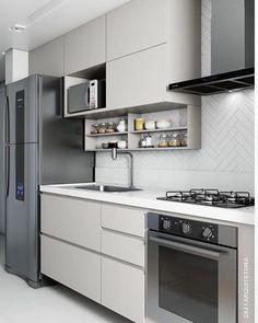 """Por Gabi Gochinski no Instagram: """"Cozinha em tons neutros para os minimalistas 🖤🙌🏻👊🏻 . Projeto Studio 83 Arquitetura . ♡ ▸ Use a #grupojsmais e tenha seus projetos nos perfis…"""""""